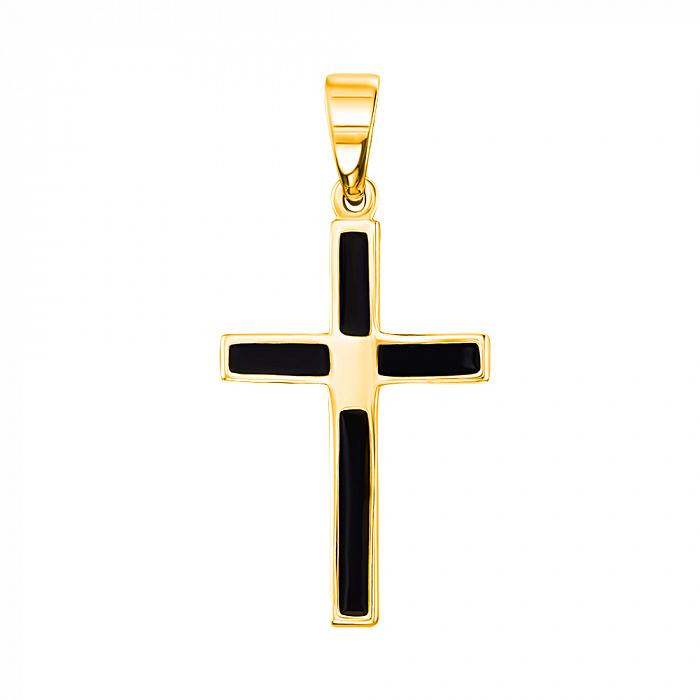 Крестик из желтого золота с черной эмалью 000104249 000104249