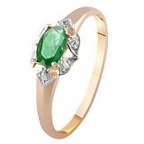 Золотое кольцо с изумрудом и бриллиантами Натали