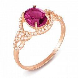 Кольцо из красного золота с родолитом и фианитами 000137000