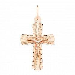 Крестик из красного золота с насечками 000135505
