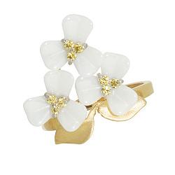Золотое кольцо с керамикой Букет