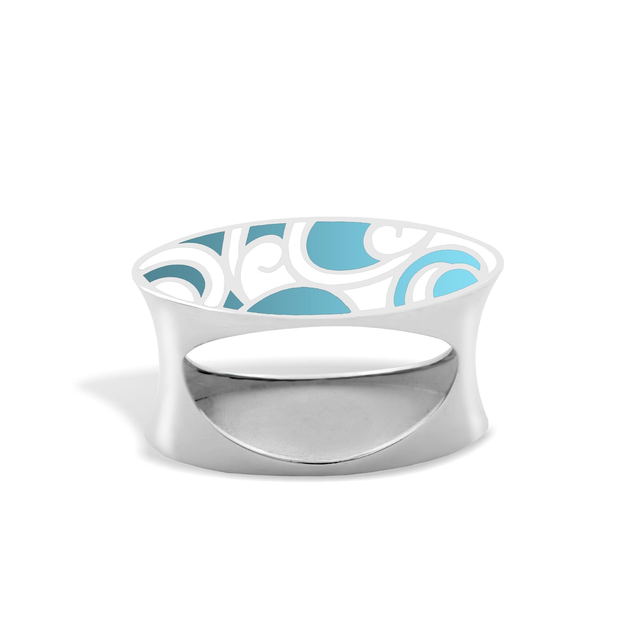 Серебряное кольцо Native  с голубой и белой эмалью