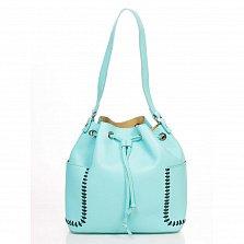 Кожаная сумка на каждый день Genuine Leather 8926 бирюзового цвета с нашивными карманчиками