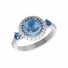 Серебряное кольцо Летисия с кварцем танзанит и фианитами