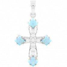 Серебряный крестик Мириам с голубым опалом и фианитами