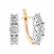 Золотые серьги Цветочная драгоценность в комбинированном цвете с бриллиантами