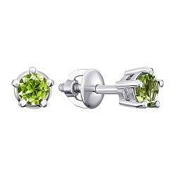 Серебряные серьги-пуссеты с хризолитами 000133194