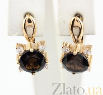 Золотые серьги с раухтопазом и фианитами Ванда 000024425