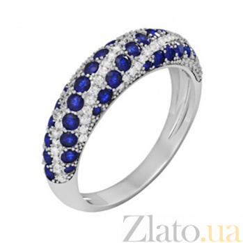 Золотое кольцо с сапфирами и бриллиантами Агнесса KBL--К1050/бел/сапф