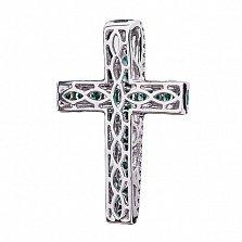 Золотой декоративный крестик Мирра с изумрудами и бриллиантами