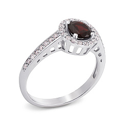 Серебряное кольцо с гранатом Алина
