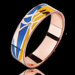 Кольцо из красного золота Молись за Украину с бриллиантами женское 000018665