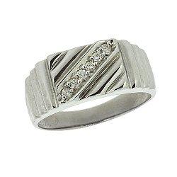 Срібний перстень з діамантами 000022214