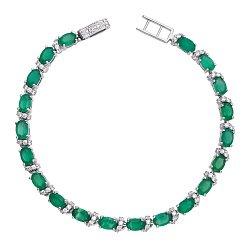 Серебряный браслет Фиолент с зеленым агатом и фианитами 000018951