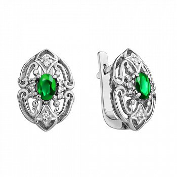 Серебряные серьги с узорами, зелеными агатами и фианитами 000114459