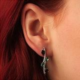 Серебряные серьги Нежные ветви с гранатами, кристаллами зеленого кваца и фианитами