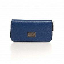 Кожаный кошелек Genuine Leather 1640 синего цвета на молнии с заклепками