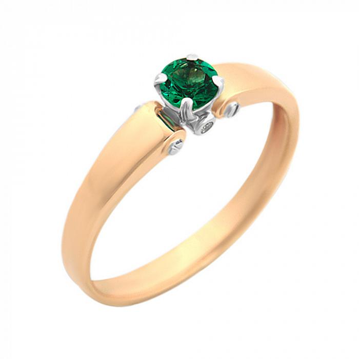 Золотое кольцо на помолвку Елена в комбинированном цвете с изумрудом VLA--15292