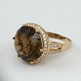 Золотое кольцо с раухтопазом и фианитами Успех