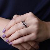 Серебряное кольцо Танец для двоих с фианитами
