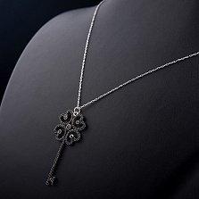 Колье из серебра Изысканный ключик с черными фианитами