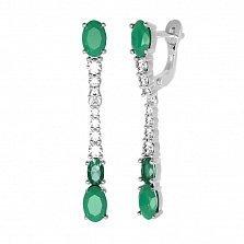 Серебряные серьги Ундина с зеленым агатом, зеленым кварцем и фианитами