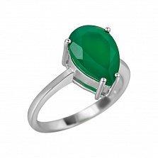 Серебряное кольцо Фанни с зеленым агатом