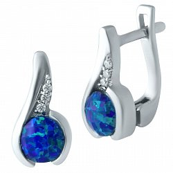 Серебряные серьги с дорожками белых фианитов и завальцованными синими опалами 000075638
