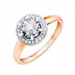 Золотое кольцо в комбинированном цвете с бриллиантами 000113530