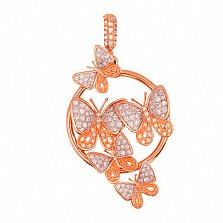 Кулон из красного золота Весенние бабочки с цирконием