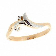 Золотое кольцо в красном цвете с бриллиантом Аурания