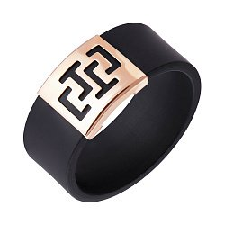Кольцо из красного золота и каучука 000015089