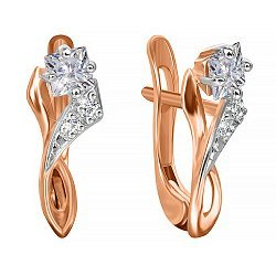 Позолоченные серебряные сережки с фианитами Жаклин