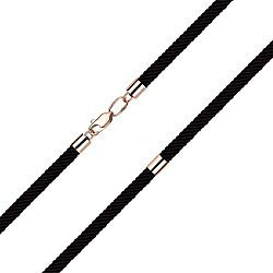 Синтетический шнурок с замком и вставками из красного золота 000140686