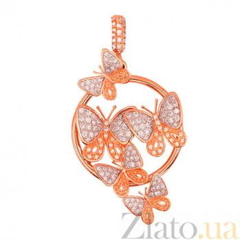 Кулон из красного золота Весенние бабочки с цирконием VLT--ТТ3414-5