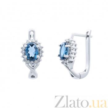 Серебряные серьги с топазом Слезы радости AQA--E02321TLB