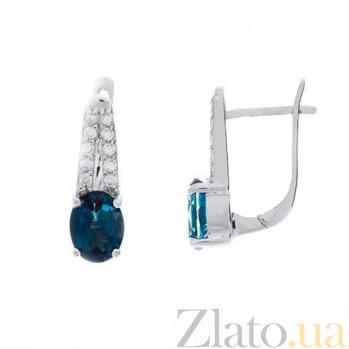 Серебряные серьги с топазом Элен AQA--E01287TLB