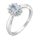 Серебряное кольцо Мирабель с топазом и фианитами