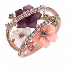 Золотое кольцо с агатом, перламутром, топазами и бриллиантами Весна в душе
