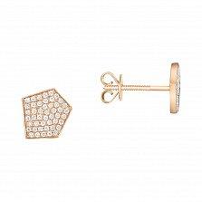 Золотые пуссеты Асимметричный пентагон с усыпкой бриллиантов
