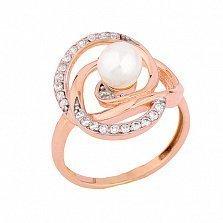 Золотое кольцо с жемчугом и фианитами Арлайн