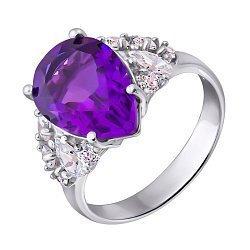 Серебряное кольцо с аметистом и фианитами 000140770