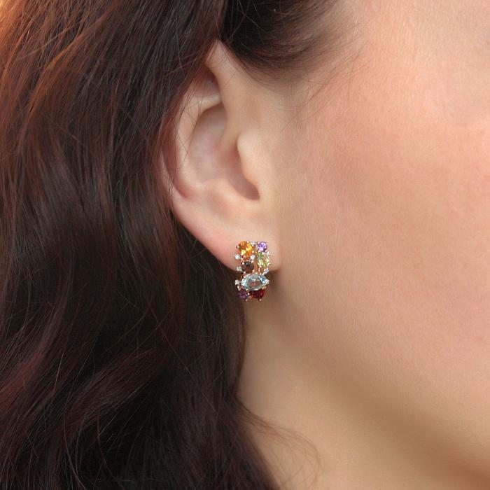 Золотые серьги с аметистом, цитрином, перидотом, бриллиантами, голубым и дымчатым топазом Марта 000037211
