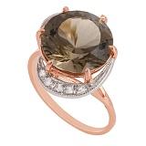 Золотое кольцо с синтезированным раухтопазом и фианитами Марлена