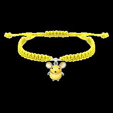 Детский плетеный браслет Желтая мышка с эмалью и фианитом, 10-20см