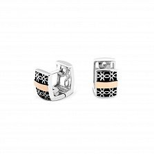 Серебряные серьги-колечки Оксана с золотыми накладками, черной эмалью и родием