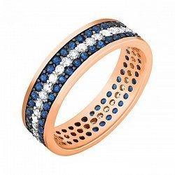 Серебряное кольцо Лорен с позолотой, синим и белым цирконием 000033979