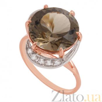 Золотое кольцо с синтезированным раухтопазом и фианитами Марлена VLN--112-1193-22