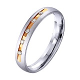Золотое обручальное кольцо Счастливая пара с фианитами
