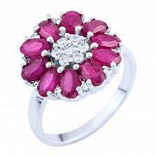 Серебряное кольцо Лакшми с рубинами и фианитами